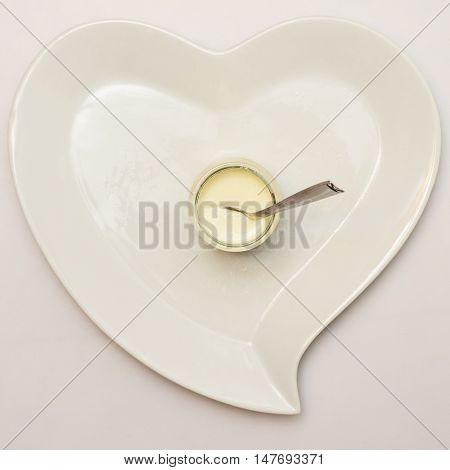 Heart Shaped Plate And Plain Yogurt