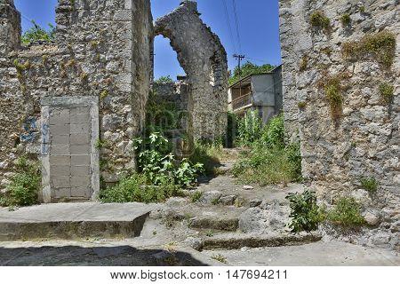 Historic derelict buildings in the southern city of Trebinje in Republika Srpska Bosnia and Herzegovina. poster