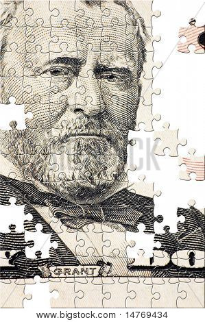 Puzzle Grant on a $50 bill