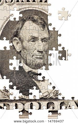 Puzzle Lincoln on a $5 bill