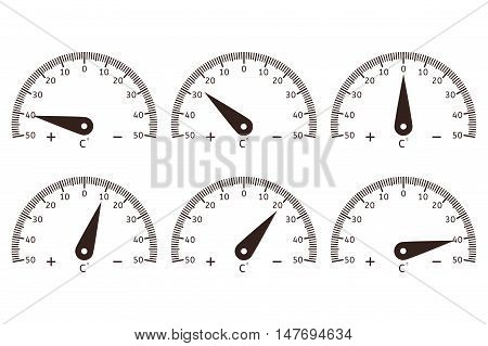 Temperature dial. Thermometer semi-circle dial. Vector illustration isolated on white background