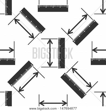The measuring height and length icon. Ruler straightedge scale symbol icon pattern on white background. Vector Illustration
