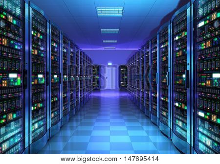 3D illustration of server room interior in datacenter in blue light