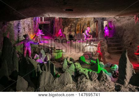 POLAND, WIELICZKA - MAY 28, 2016: Wieliczka Salt Mine.  In UNESCO World Heritage since 1978. POLAND, WIELICZKA - MAY 28, 2016: Wieliczka Salt Mine.  In UNESCO World Heritage since 1978. Exhibition with dwarves.