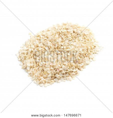 Close-up on a Quinoa Flakes isolated in white background