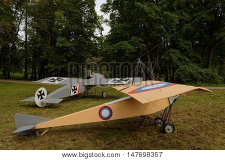 GATCHINA, ST. PETERSBURG, RUSSIA - SEPTEMBER 10, 2016: Model of the airplane Nieuport used in WWI during the festival Gatchinskaya Byl. The festival is held first time this year