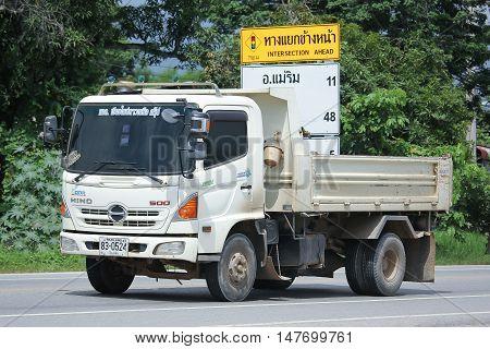 CHIANGMAI, THAILAND - AUGUST 18, 2016: Hino Dump Truck of Chiangmai North Star Company. On road no.1001 8 km from Chiangmai city.