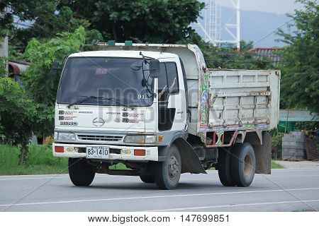 CHIANGMAI, THAILAND - AUGUST 18, 2016: Private Old Hino Dump Truck. On road no.1001 8 km from Chiangmai city.
