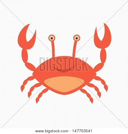 cute smiling happy crab character, lifting up claws, isolated on white background.