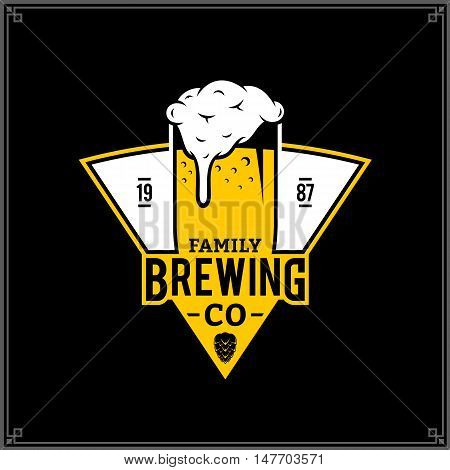Vector White And Yellow Vintage Brewing Company Logo
