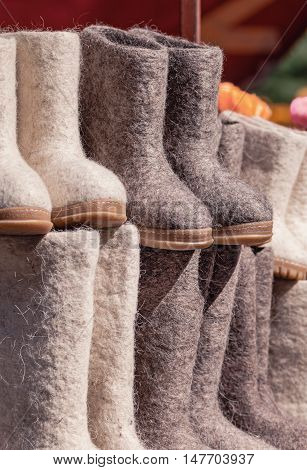 Felt boots on market stand. Valenki are traditional Russian winter footwear.