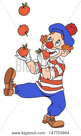 Illustration of funny clown juggling with apples