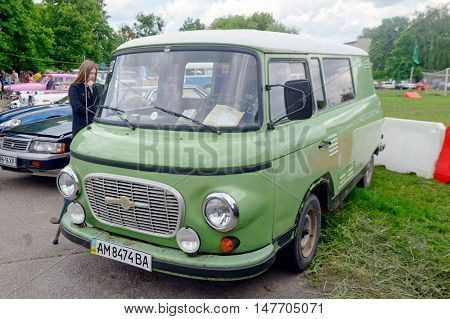 Kharkiv Ukraine - May 22 2016: Retro bus Barkas B1000 manufactured in 1990 is presented at the festival of vintage cars Kharkiv Retro Rally - 2016 in Kharkiv Ukraine on May 22 2016