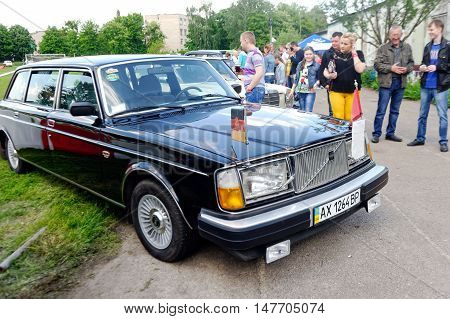 Kharkiv Ukraine - May 22 2016: Retro car black Volvo 264TE manufactured between 1975 and 1981 is presented at the festival of vintage cars Kharkiv Retro Rally - 2016 in Kharkiv Ukraine on May 22 2016