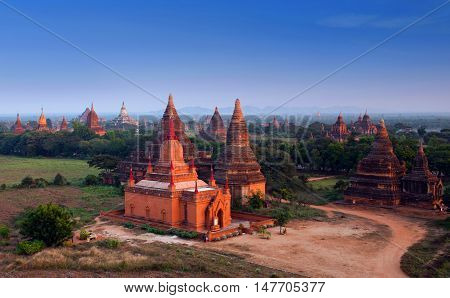 Ancient temples in Bagan Archaeological zone Myanmar. Bagan's prosperous economy built over 10000 temples between the 11th and 13th centuries.
