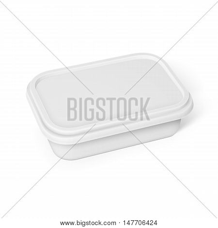 White container for margarine spread, butter or melted cheese, isolated on white background. Packaging collection.