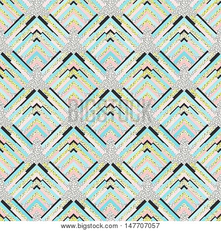 Seamless wallpaper. Retro backdrop. Memphis design. Avant-garde illustration. Vintage graphic. Bauhaus pattern. Postmodernism ornament. Hipster print. Futuristic background. Geometry art. Vector.