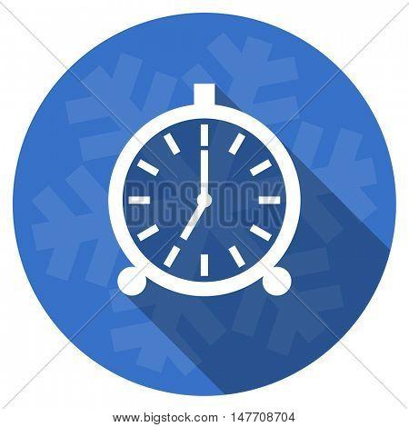 alarm blue flat design christmas winter web icon with snowflake