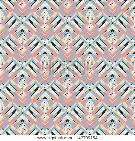 Seamless pattern. Retro graphic. Memphis illustration. Avant-garde design. Vintage backdrop. Bauhaus wallpaper. Postmodernism art. Hipster background. Futuristic print. Geometry ornament. Vector.