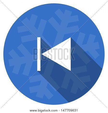prev blue flat design christmas winter web icon with snowflake