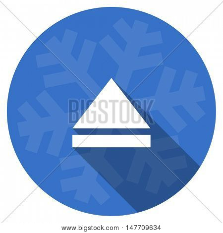 eject blue flat design christmas winter web icon with snowflake