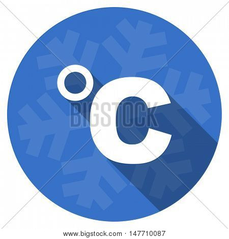 celsius blue flat design christmas winter web icon with snowflake