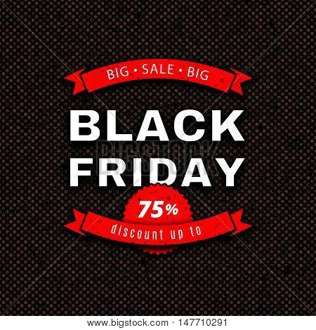 Black Friday Sale design template. Vintage red white discount label, sale banner on a dark background, Vector illustration