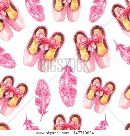 Seamless pattern with pink pointe shoes and feathers. Watercolor ballet background