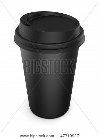 Disposable Black Plastic Cup With A Lid. Cup For Coffee. Isolated On White Background. 3D Rendering