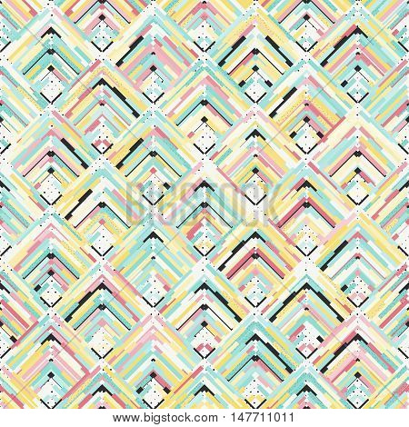 Seamless art. Retro background. Memphis print. Avant-garde ornament. Vintage pattern. Bauhaus graphic. Postmodernism illustration. Hipster design. Futuristic backdrop. Geometry wallpaper. Vector.