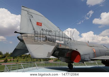 ESKISEHIR TURKEY - SEPTEMBER 04 2016: McDonnell Douglas F-4E Phantom II in Sazova Science Art and Cultural Park. F-4E Phantom II is tandem two seat twin engine long range supersonic jet.