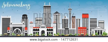 Johannesburg Skyline with Gray Buildings and Blue Sky. Vector Illustration. Business Travel and Tourism Concept with Johannesburg Modern Buildings. Image for Presentation and Banner.