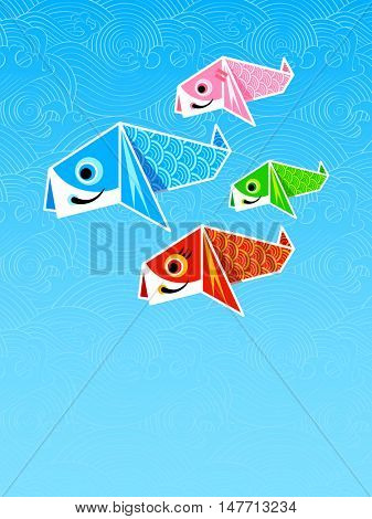 Japanese poster with origami carp family, Children's Day symbol