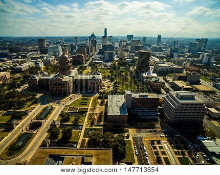 Texas State Capital Building dramatic Sky wide angle Cityscape Urban Sprawl with deep perspective and entire city skyline
