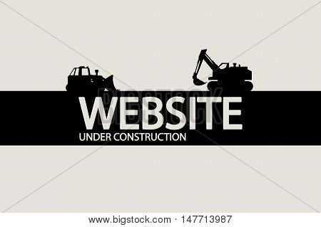 illustration of under construction website silhouette with vehicles
