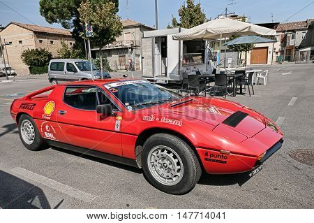 GAMBETTOLA FC ITALY - SEPTEMBER 3: vintage Italian sports car Maserati Merak SS of the seventies in classic car rally during the festival