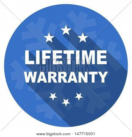 lifetime warranty blue flat design christmas winter web icon with snowflake