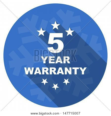 warranty guarantee 5 year blue flat design christmas winter web icon with snowflake