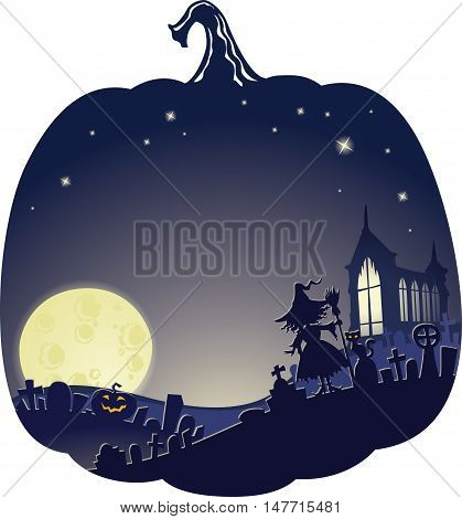 Halloween Double Exposure Background with copyspace. This image is a vector illustration and can be scaled to any size without loss of resolution. Created in Adobe Illustrator. Image contains gradients transparency blending modes. EPS 10