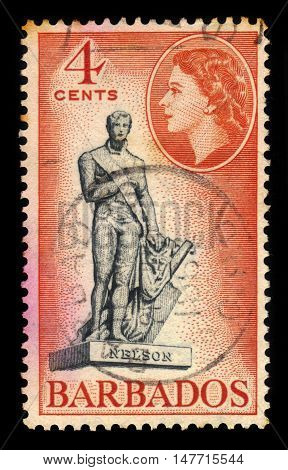 BARBADOS - CIRCA 1954: A stamp printed in Barbados shows Admiral Nelson statue in Bridgetown at Trafalgar Square (now renamed National Heroes' Square), Barbados, circa 1954