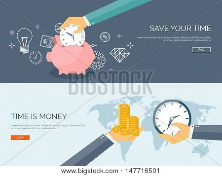 Flat vector illustration background. Money, money making. Web payments. World currency. Internet store, shopping. Pay per click. Business.
