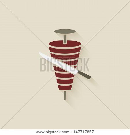 doner kebab with knife. vector illustration - eps 10