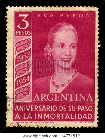 Argentina - CIRCA 1954: A stamp printed in Argentina shows Eva Peron, first Lady of Argentina, circa 1954