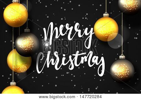 Merry Christmas and Happy New Year card design. Text handmade calligraphy Merry Christmas. Black background with snowflakes and bright highlights, Christmas balls, greeting card