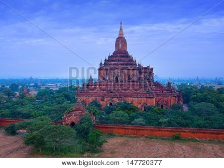Ancient Sulamani pagoda in Bagan archaeological zone Myanmar. It was built in 1183 by King Narapati sithu.