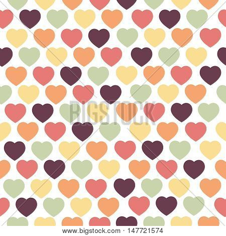 Seamless with hearts in different color. Vector pattern.