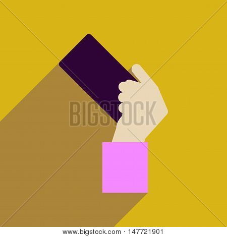 Flat web icon with long  shadow  referee card