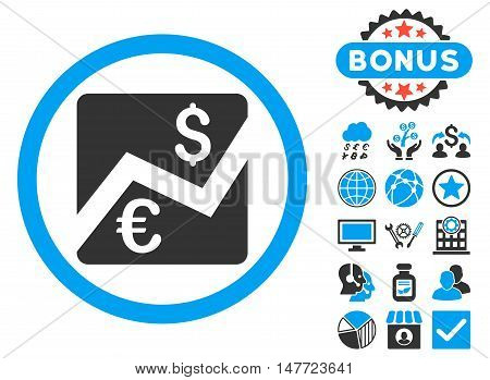 Euro Dollar Chart icon with bonus pictures. Vector illustration style is flat iconic bicolor symbols, blue and gray colors, white background.