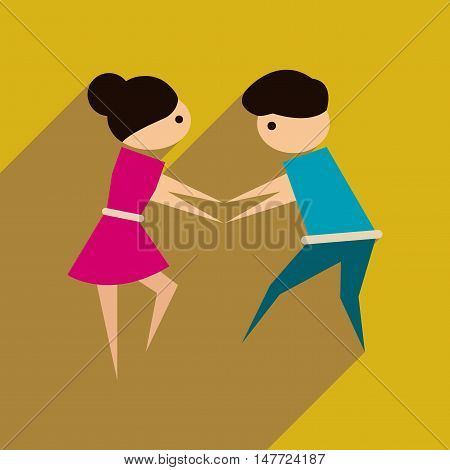 Flat web icon with long  shadow dancers couple