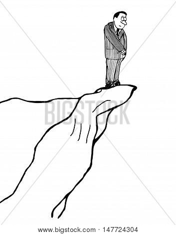 B&W business illustration showing a businessman looking down from the edge of a steep cliff.